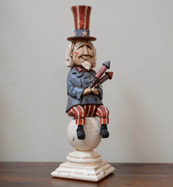 Sam Moon Home Decor: Uncle Sam Primitive Folk Art Woodcarving By JoyHallFolkArt