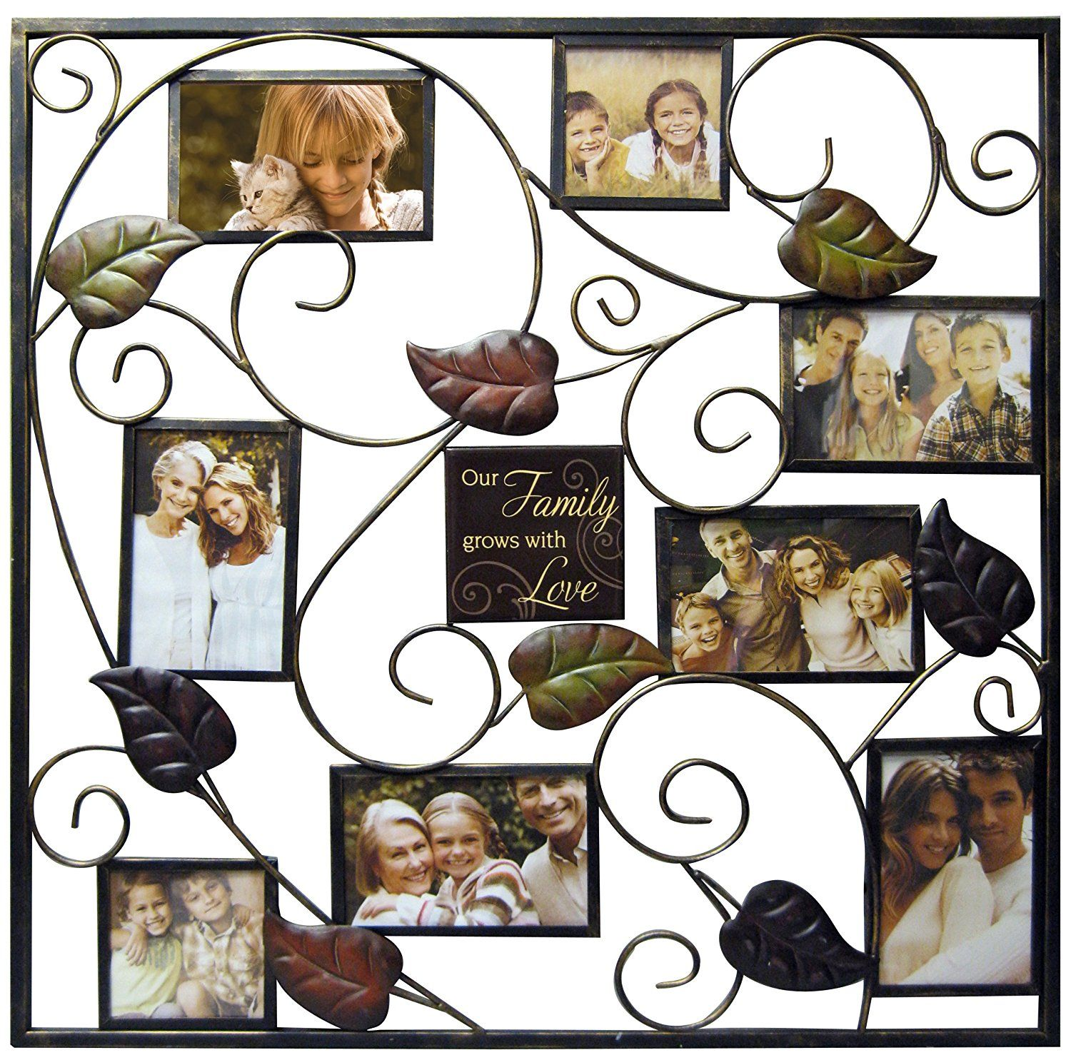 Haven Our Family Metal Stamped Leaf Collage Frame * Details can be ...
