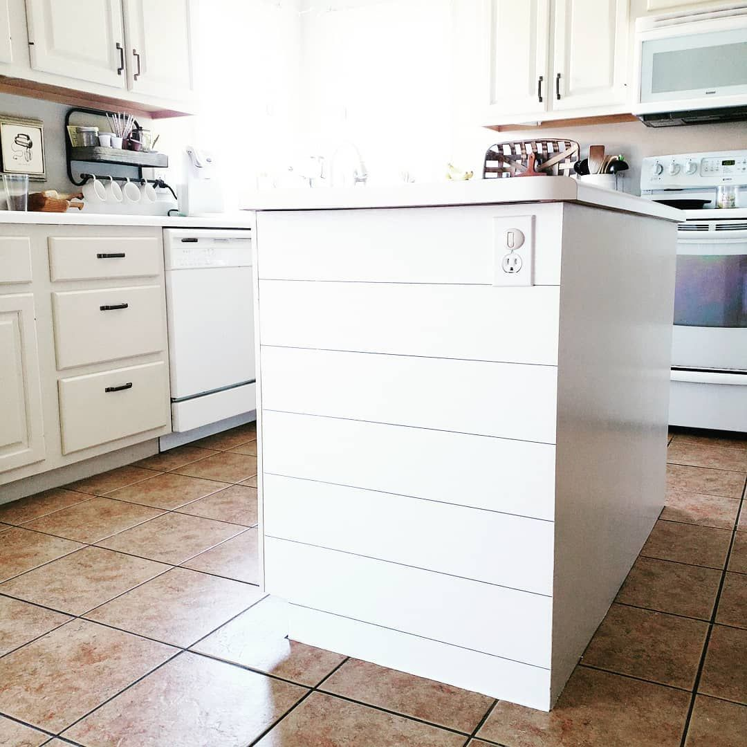 I Had Some Removable Shiplap Wallpaper Left Over From One Of The Kitchen Walls So I Added It To The End Of My Island The Kitchen Wall Shiplap Home Remodeling