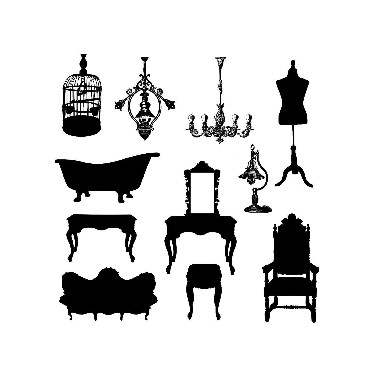 Instant Download Antique Vintage Furniture Silhouette Graphics