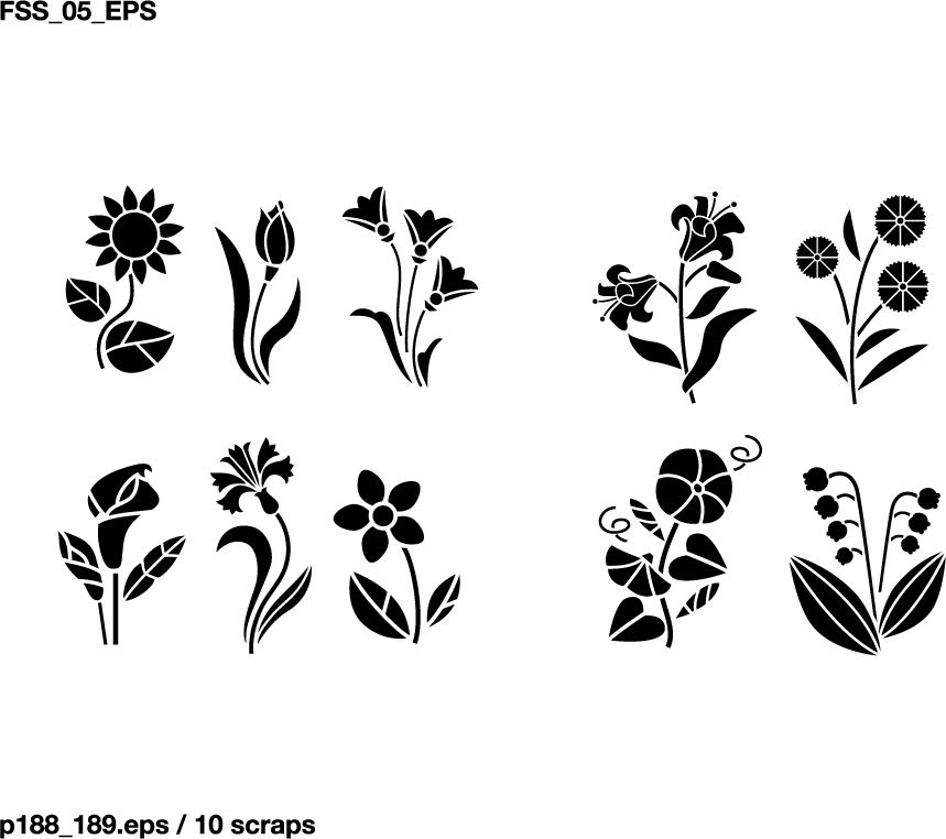 Various elements of vector silhouette flowers and trees