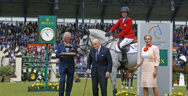 Ice… http://www.worldofshowjumping.com/Rolex-Grand-Slam-events/Laura-Kraut-awarded-as-Leading-Rider-in-Aachen-Zeremonie-Best-Horse.html