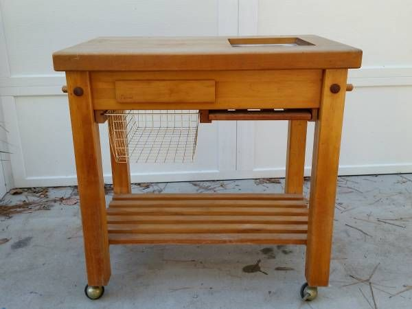 Solid, High Quality, Maple Top Le Gourmand Rolling Butcher Block Kitchen  Island / Kitchen