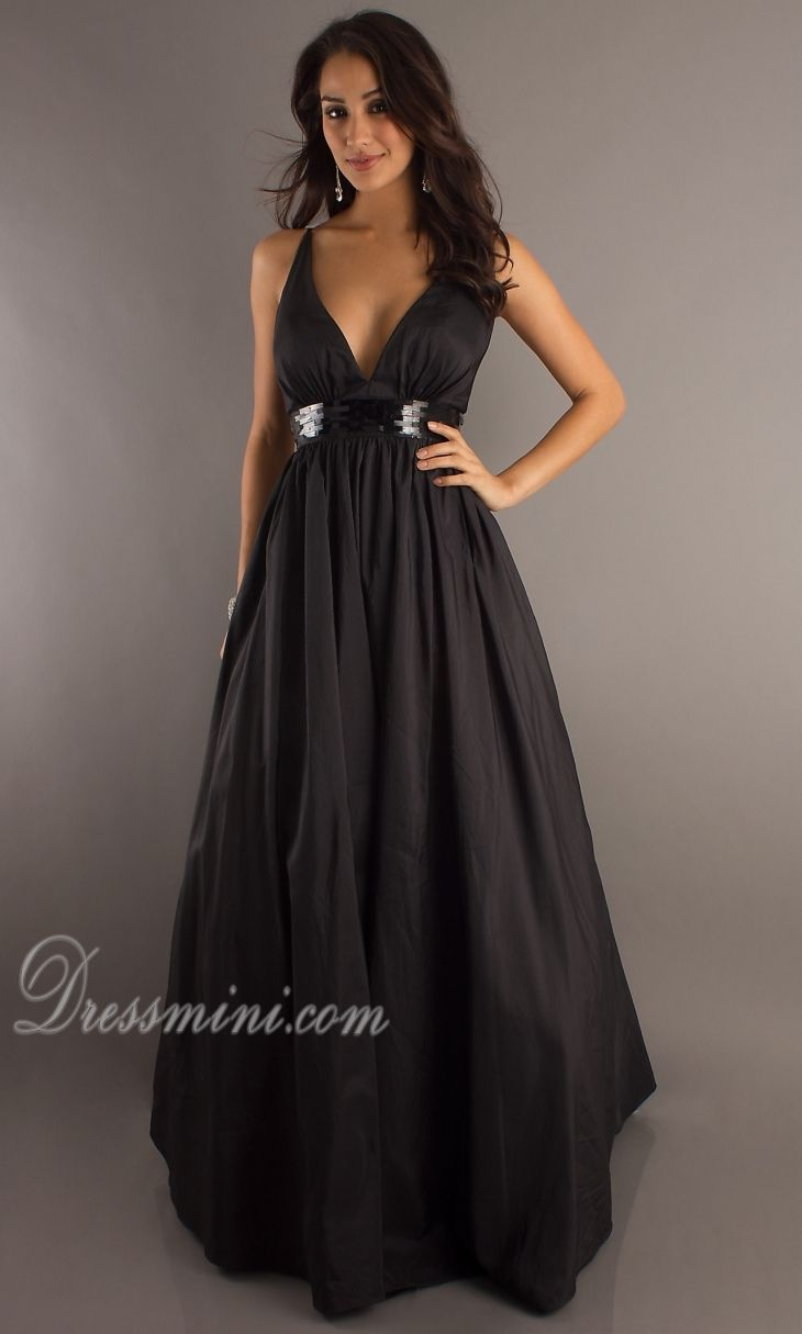 Black Tie A Line Princess Long Floor Length Taffeta Evening Dress Prom Dresses Under 100black