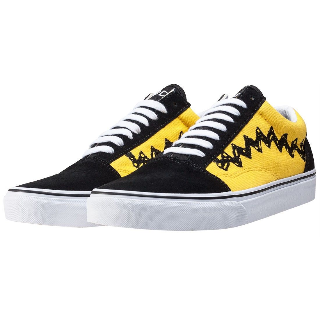 9a9c3074cb7 Vans X Peanuts Old Skool Charlie Br Unisex Trainers in Black Yellow ...