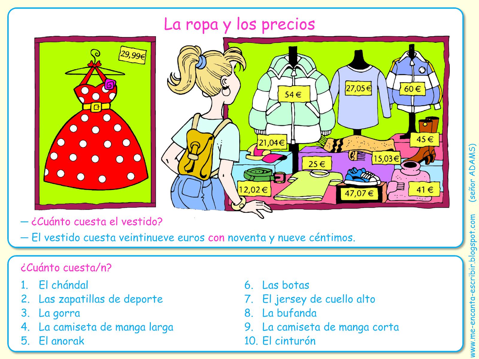 Me Encanta Escribir En Espanol La Ropa Y Los Precios El