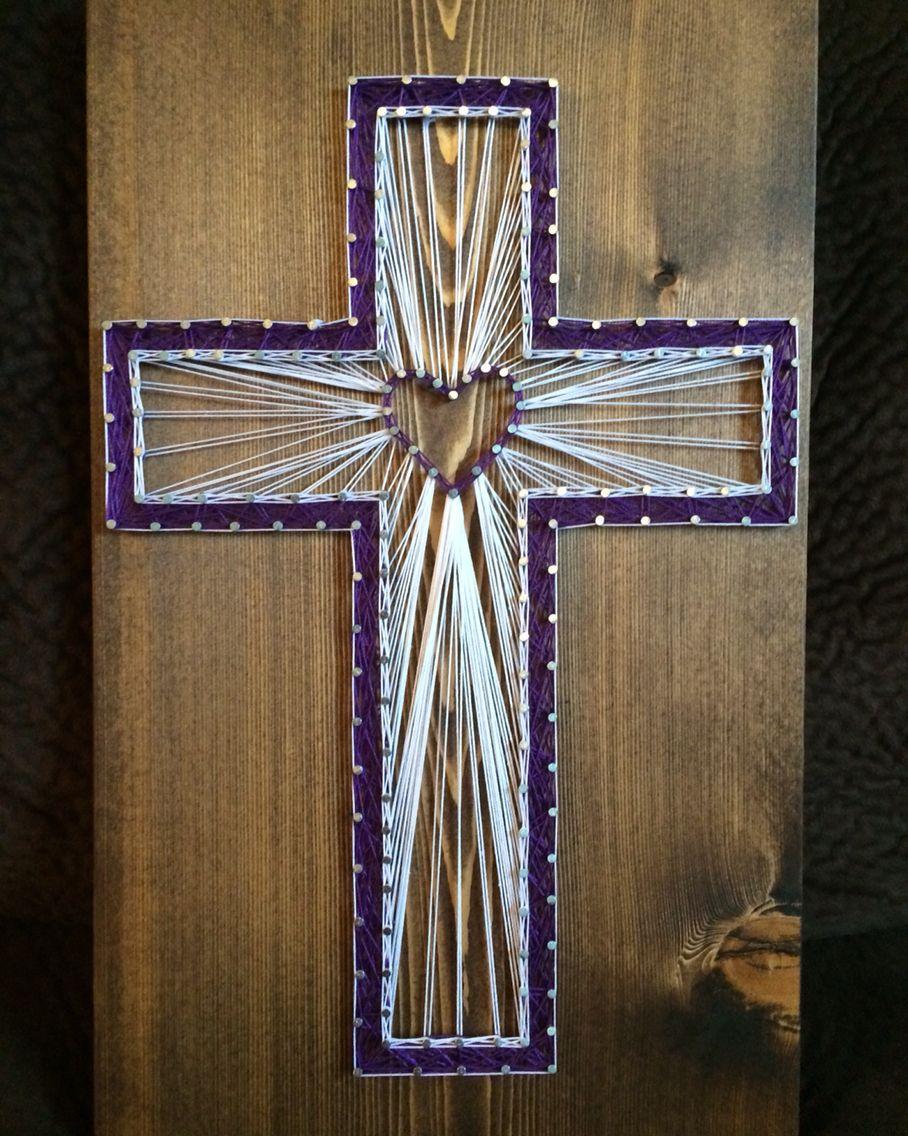 Cross String Art Religious Christian Decor Home Catholic