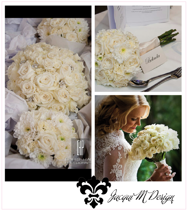 Crystal And White Wedding Theme: Crystal Flower Design Buttons Have This Bouquet Dressed