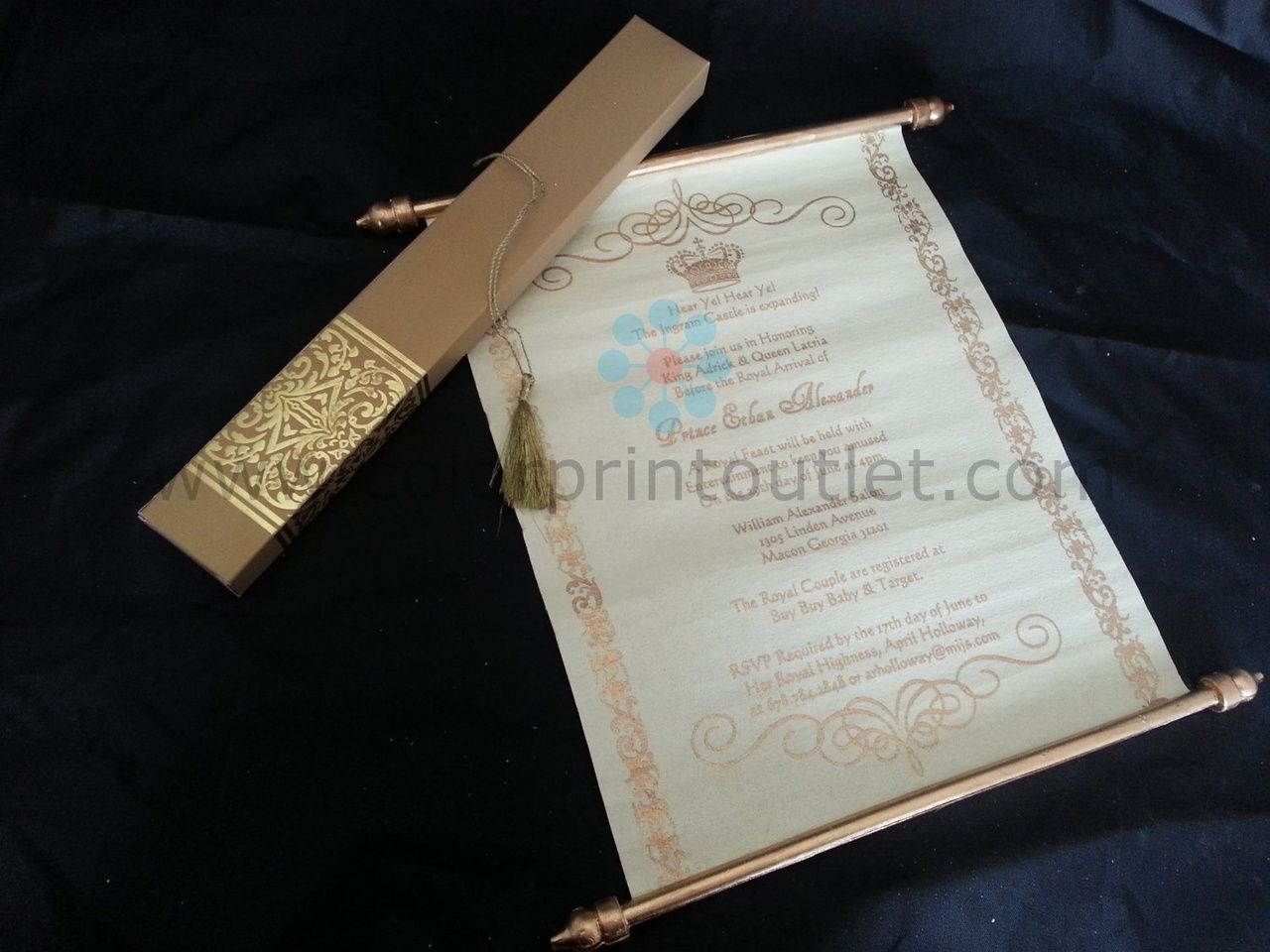 Decorative Royal Scroll invitation (Set of 25) - SCW-003 - Baby ...