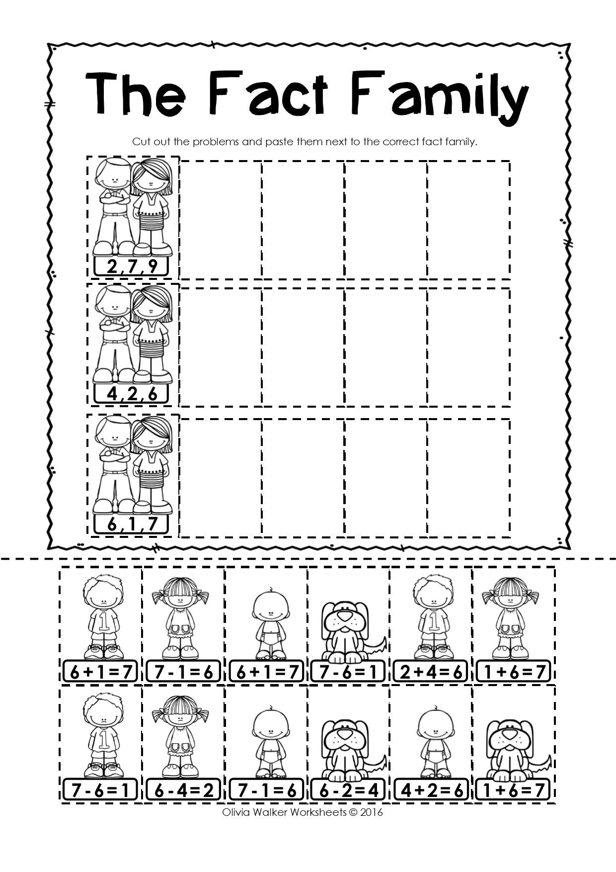 Worksheets An Family Worksheets fact families free worksheets cut and paste to match first free