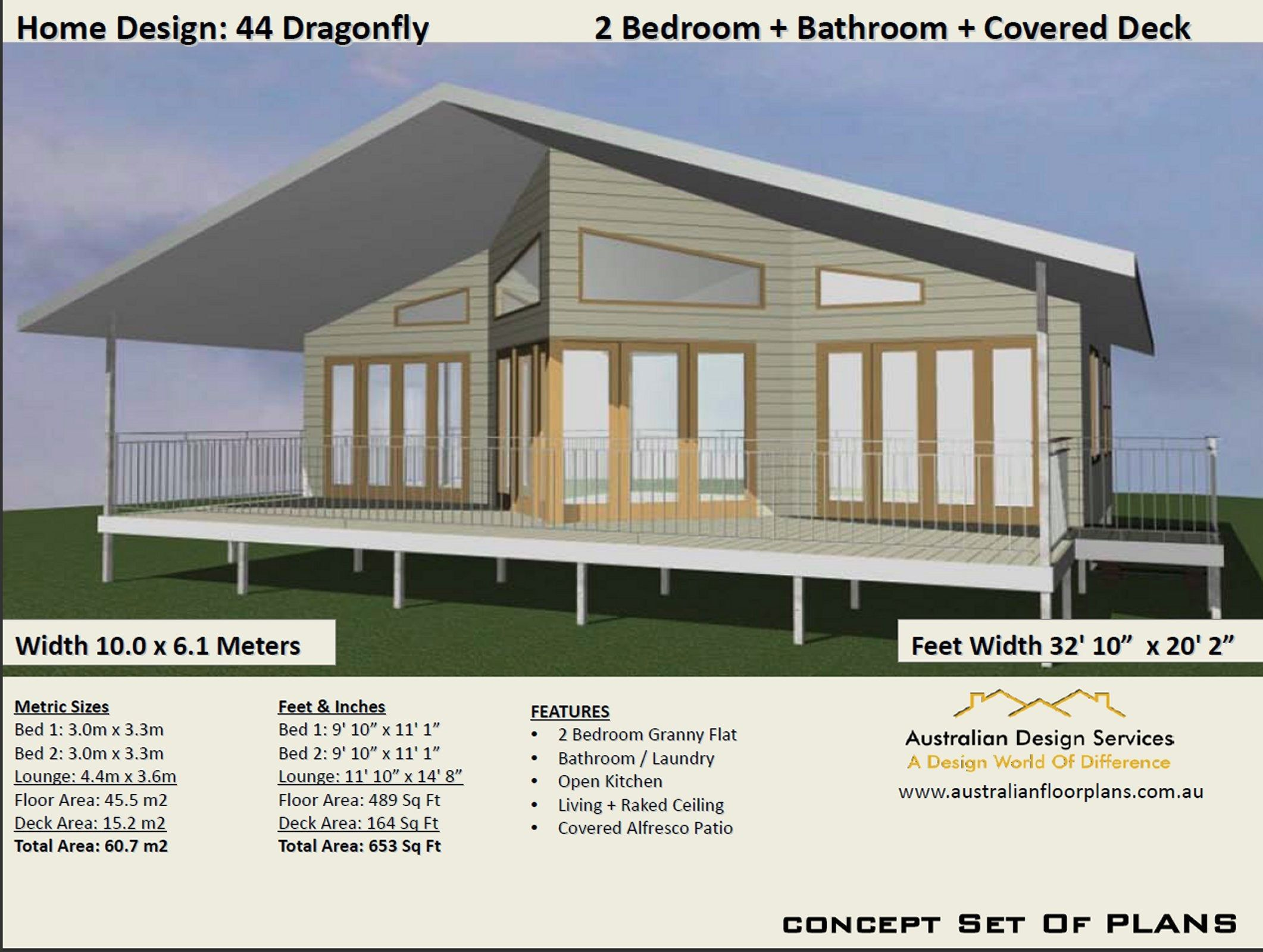 60.7 m2 or 653 sq foot Australian 2 Bedroom house plan
