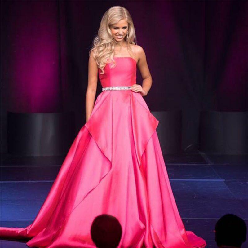 vestidos graduacion cortos Pink Color Strapless A-Line Prom Dress ...