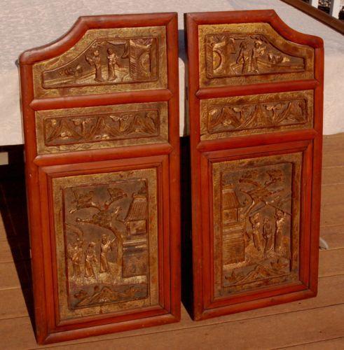 Pr antique chinese wood carving panel door hanging