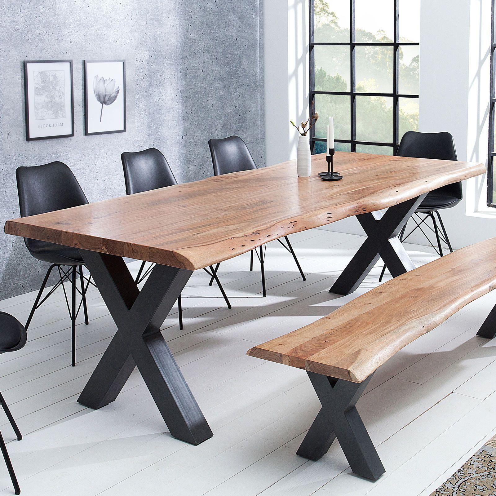Massiver Baumstamm Tisch MAMMUT 160cm Akazie Massivholz