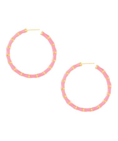 This Pink & Goldtone Hoop Earring by Top It Off is perfect! #zulilyfinds