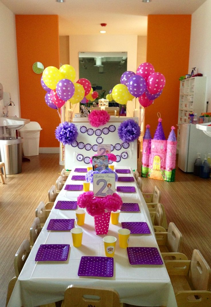 Sofia the First Birthday Party set up (With images