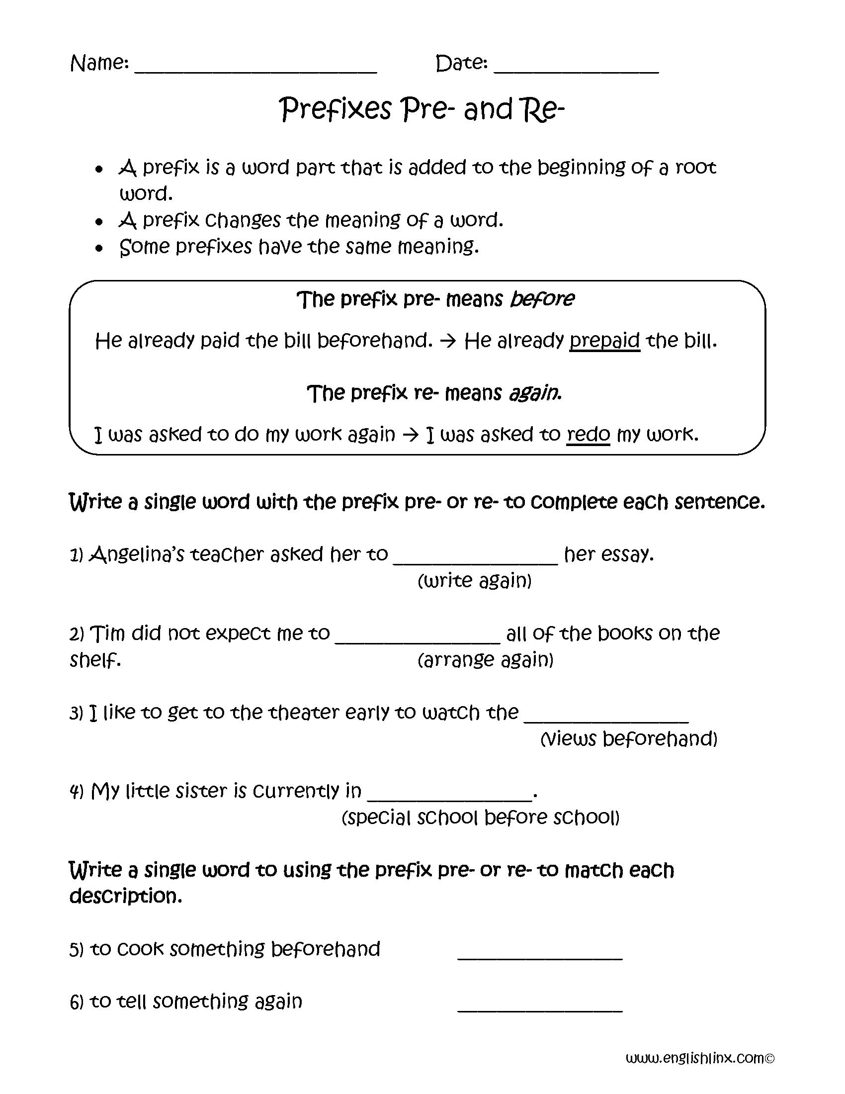Prefixes Pre And Re Worksheets Prefix Worksheet Prefixes Suffixes Worksheets [ 2200 x 1700 Pixel ]