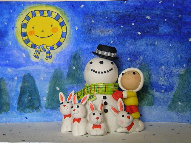 Snowman and bunnies