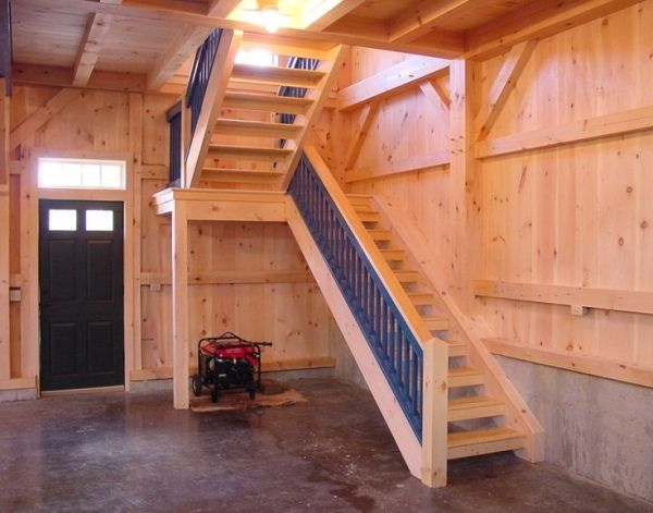 Barn framing for stairs i kinda like the shape of these for Barn shaped garage