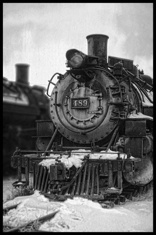 Snow Train,Vintage Steam Engine Black and White Art Print 8x12