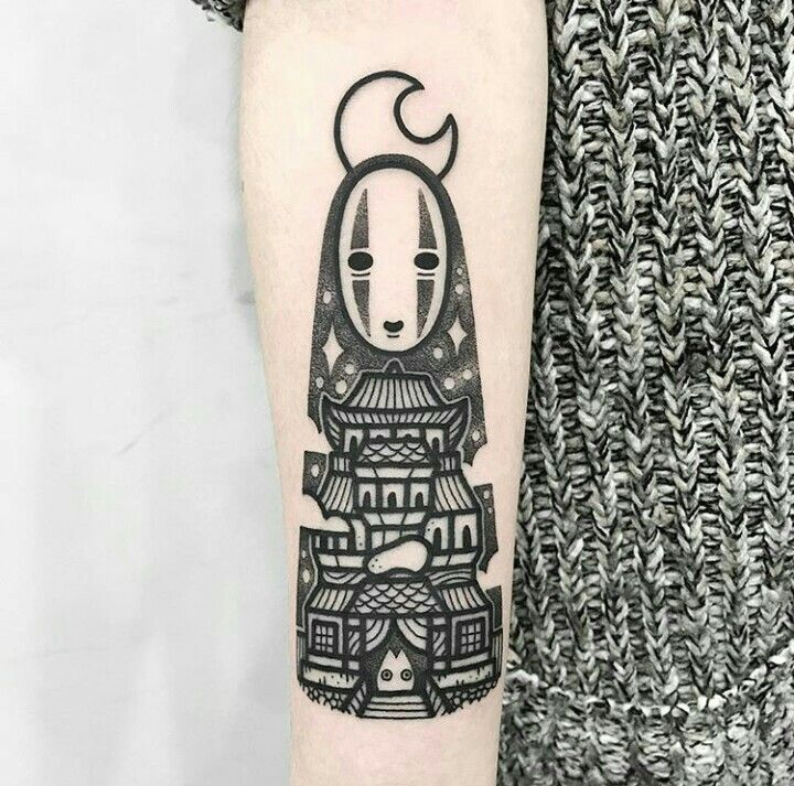 No Face From Spirited Away Tattoo By Hugo Tattooer Tattoos Spirited Away Tattoo Ghibli Tattoo