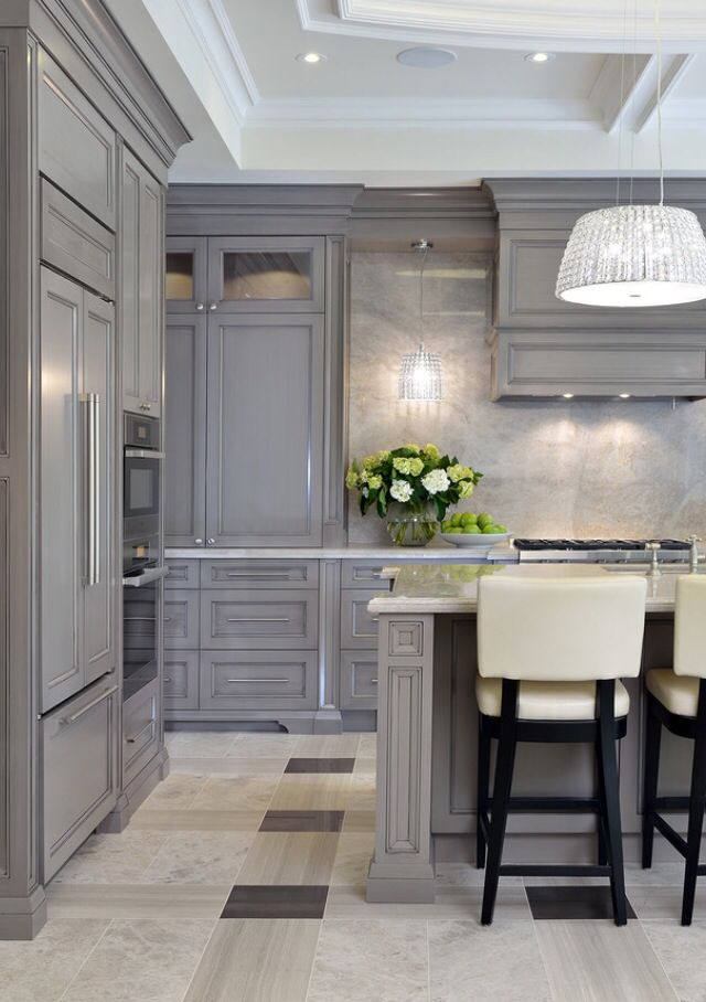 Park Avenue Princess Kitchen. Greys And White With Marble And Stone Work  Effortlessly Together.