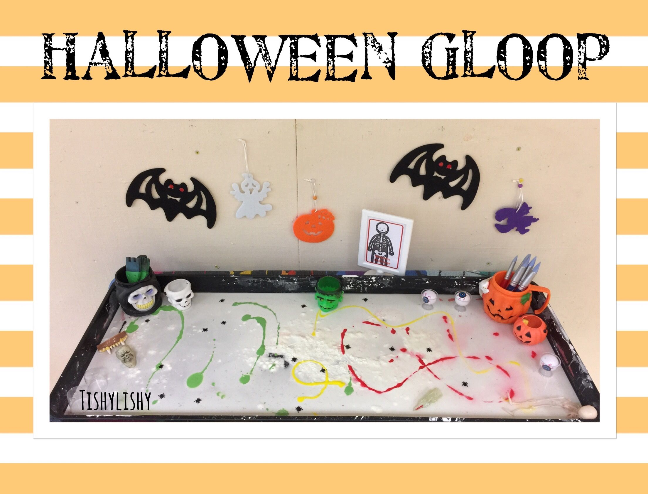 Gloop (cornflour and water) with Halloween resources and mark