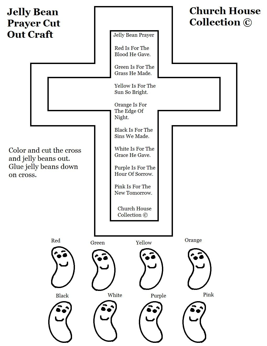 Sunday School Printables | Black And White Jelly Bean Prayer ...