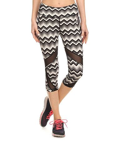 756157145faec0 Loving this Black Chevron Mesh-Inset Capri Leggings on #zulily! #zulilyfinds
