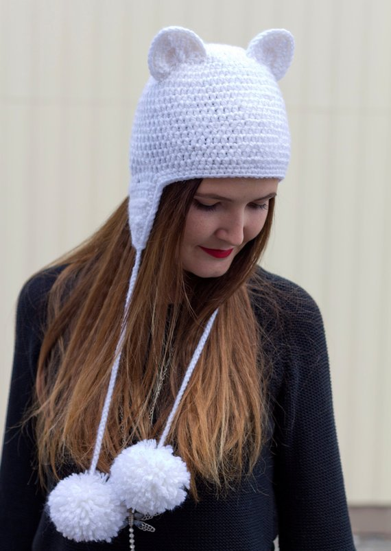 eeacf5f74600e6 Cat ear hat White cat beanie Girls animal knit hat Adult cat hats Crochet  cat ears Knit cat ear hat