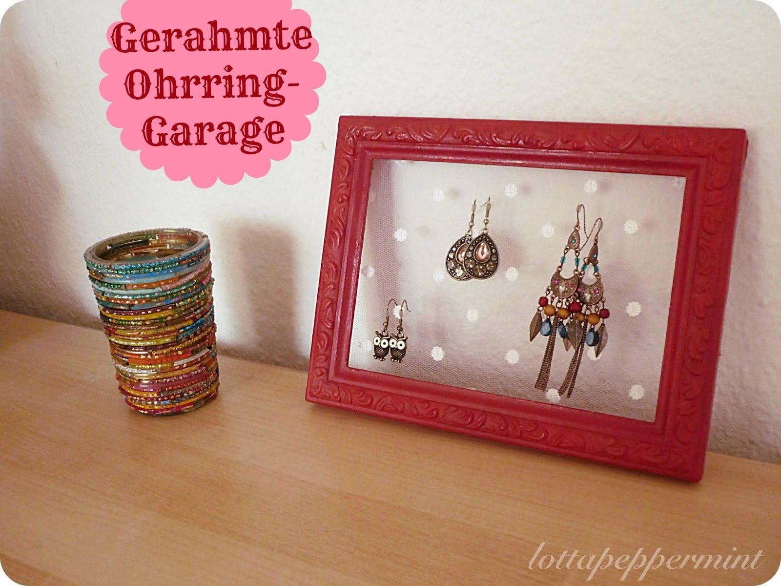 DIY: Gerahmte Ohrring-Garage. Framed earring organizer.