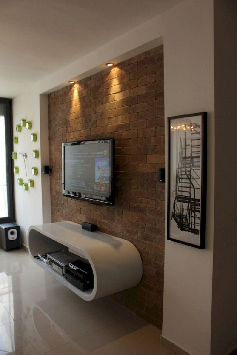 45 Cool Farmhouse Living Room With Brick Wall Decoration Ideas Livingroomideas Livingroomdecor Livingro Wall Mounted Tv Cabinet Brick Wall Tv Tv Wall Decor