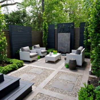 Modern backyard patio with great privacy screening for Backyard screening ideas