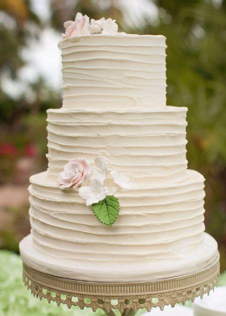 Textured Ercream Wedding Cake
