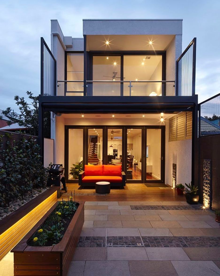 Don T Love The House But Love The First Floor Deck One Question Is Whether If We Stepped Down I In 2020 Narrow House Designs Modern Minimalist House Terrace Design