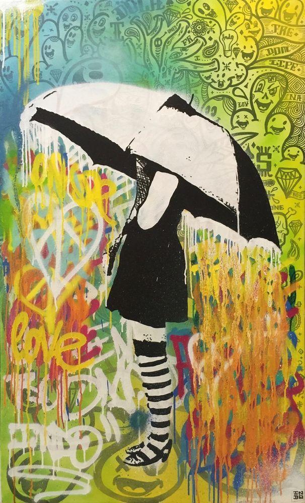 INDO Street Artist  Umbrella Girl  Original Mixed Media on Canvas 120cm x 73cm