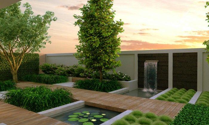 Modern garden an elegant garden fence green waterfall | Show garden ...