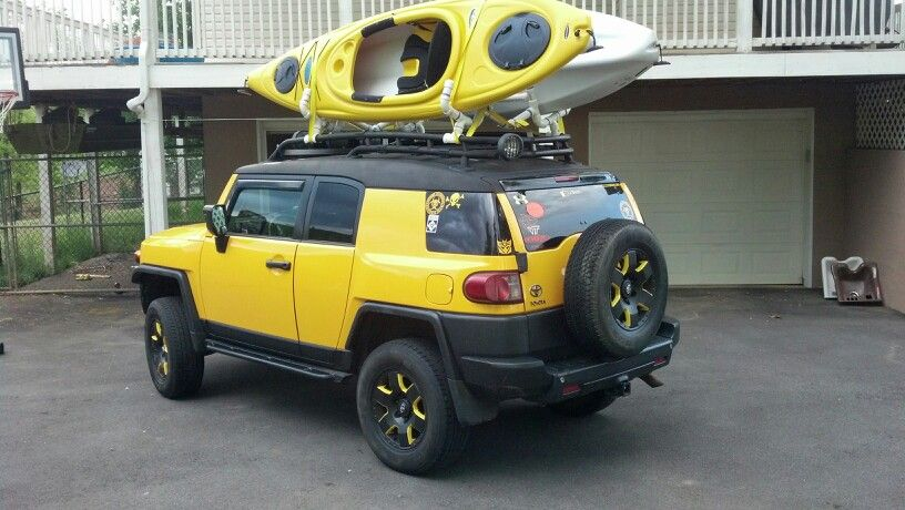 Fj Cruiser Lifted Blacked Out With Homemade Kayak Rack Can T