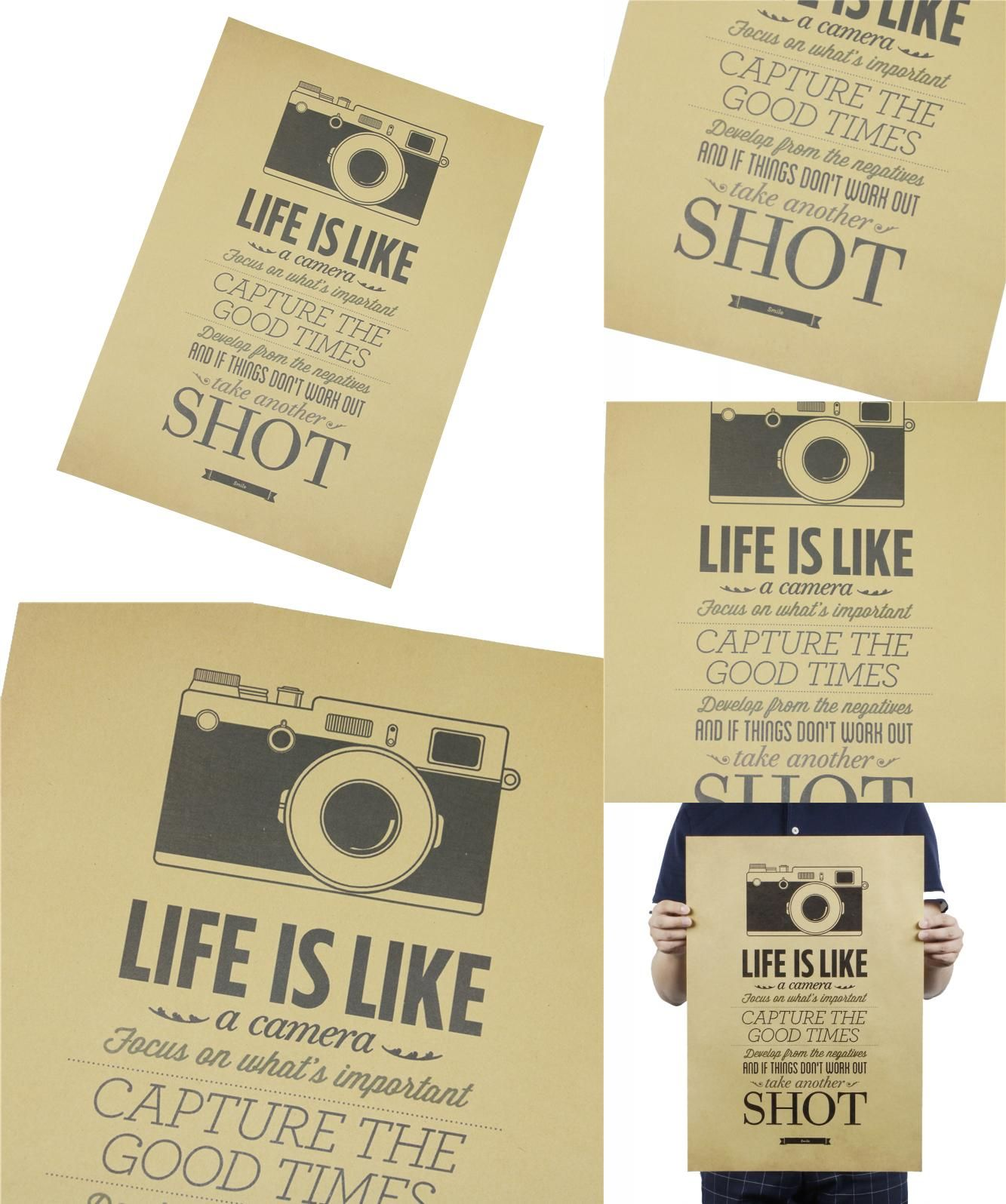 Visit to Buy] Vintage Classic Life Is Like A Camera Poster Cafe Bar ...
