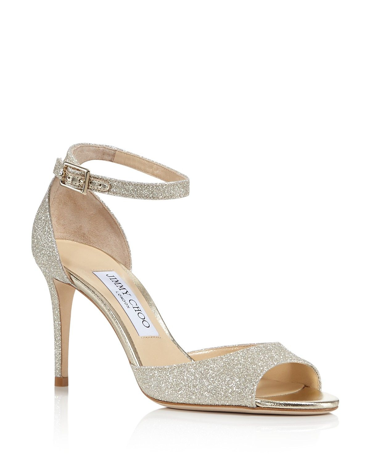 19610f4615d3 Jimmy Choo Women s Annie 85 Glittered Suede High Heel Ankle Strap Sandals  PRICE  695.00