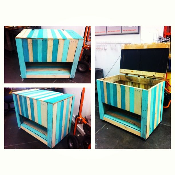 Pallet Storage Chest with Chalkboard Paint on the lid.