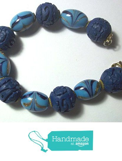 Cinnabar and venetian glass bead bracelet. Gift idea from Jewelry by RayeEllen http://www.amazon.com/dp/B018218CK8/ref=hnd_sw_r_pi_dp_tOcuwb0Y0DTDH #handmadeatamazon