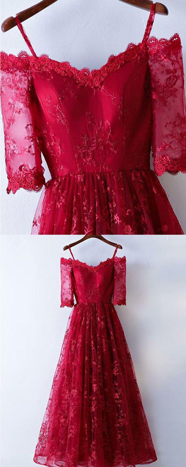 Aline offtheshoulder half sleeves floorlength dark red lace prom
