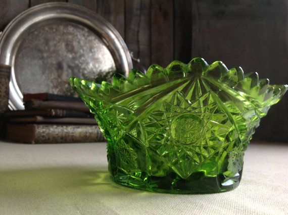 Vintage Cut Glass Green Serving Bowl-Carnival Glass