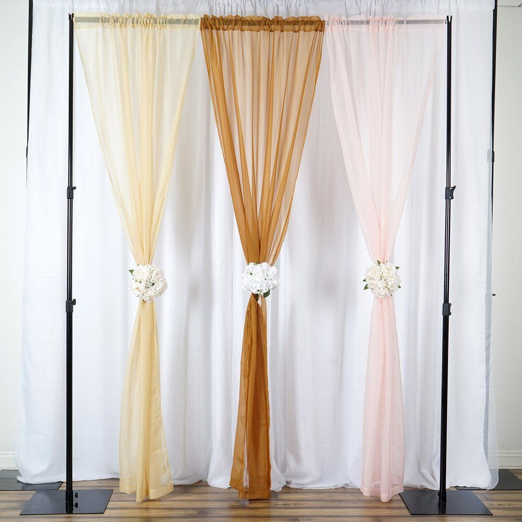 2 Pack 9ft Gold Organza Sheer Backdrops Curtain Panel With