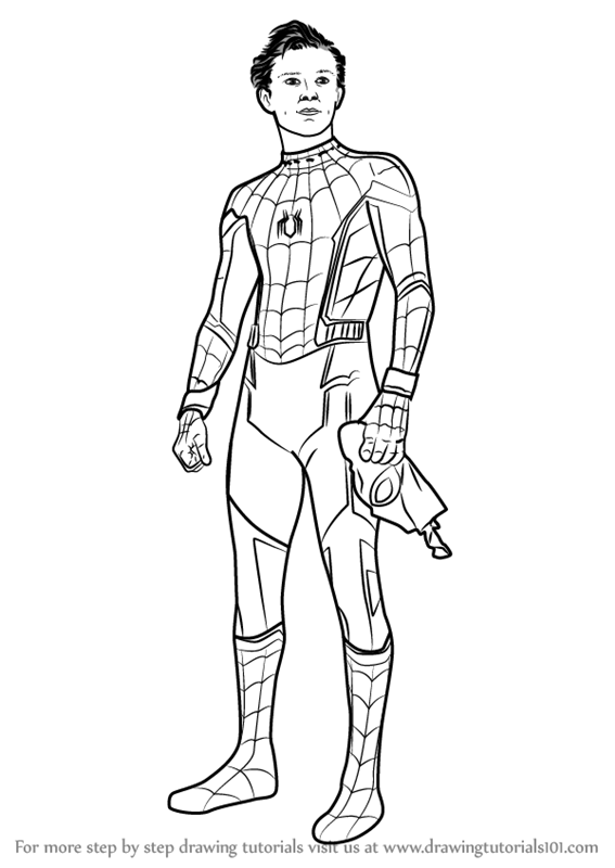 Learn How To Draw Tom Holland As Spider Man Characters Step By Step Drawing Tutorials Spiderman Drawing Spiderman Coloring Spiderman Homecoming Drawing