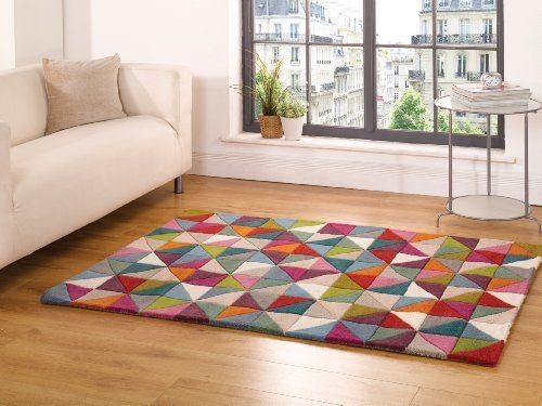 Very Large Thick Modern Contemporary Wool Geometry Design Rainbow Coloured Rug in 5'3'' x 7'4'' (160 x 220 cm) Carpet, http://www.amazon.com/dp/B00GZ5LHY2/ref=cm_sw_r_pi_awdm_.wQ2tb1Z2S6MW