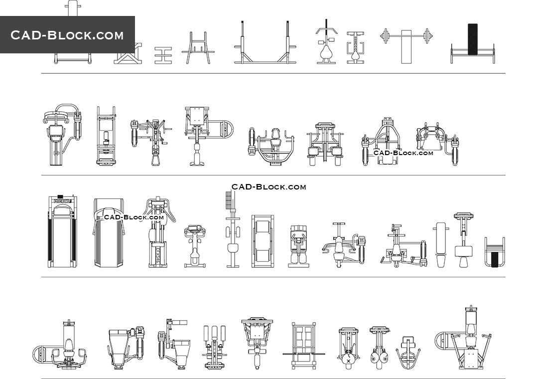 Fitness Equipment Cad Block 캐드소스 Pinterest