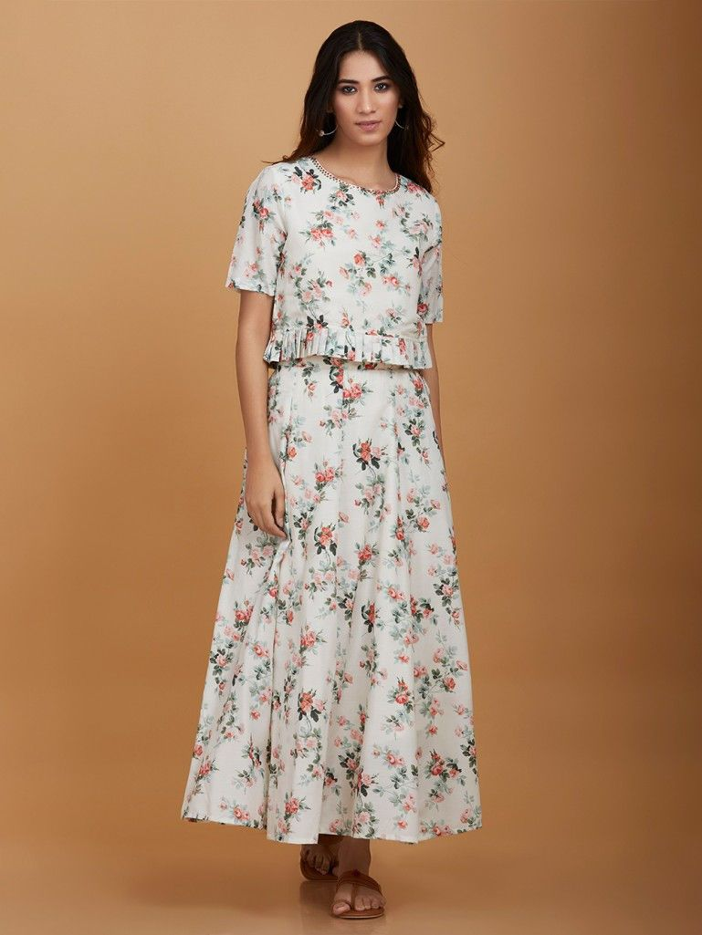 6435bbc954 White Floral Printed Cotton Skirt Top- Set of 2 in 2019 | kurtis ...