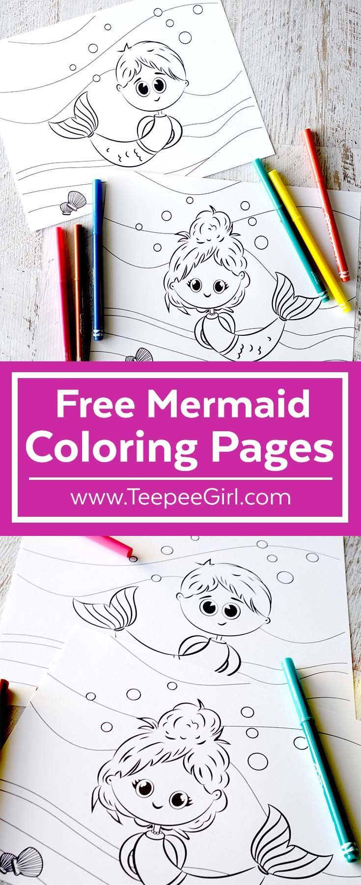 Free Mermaid Coloring Pages | ~Craft Room~ Party::Everybody\'s Board ...